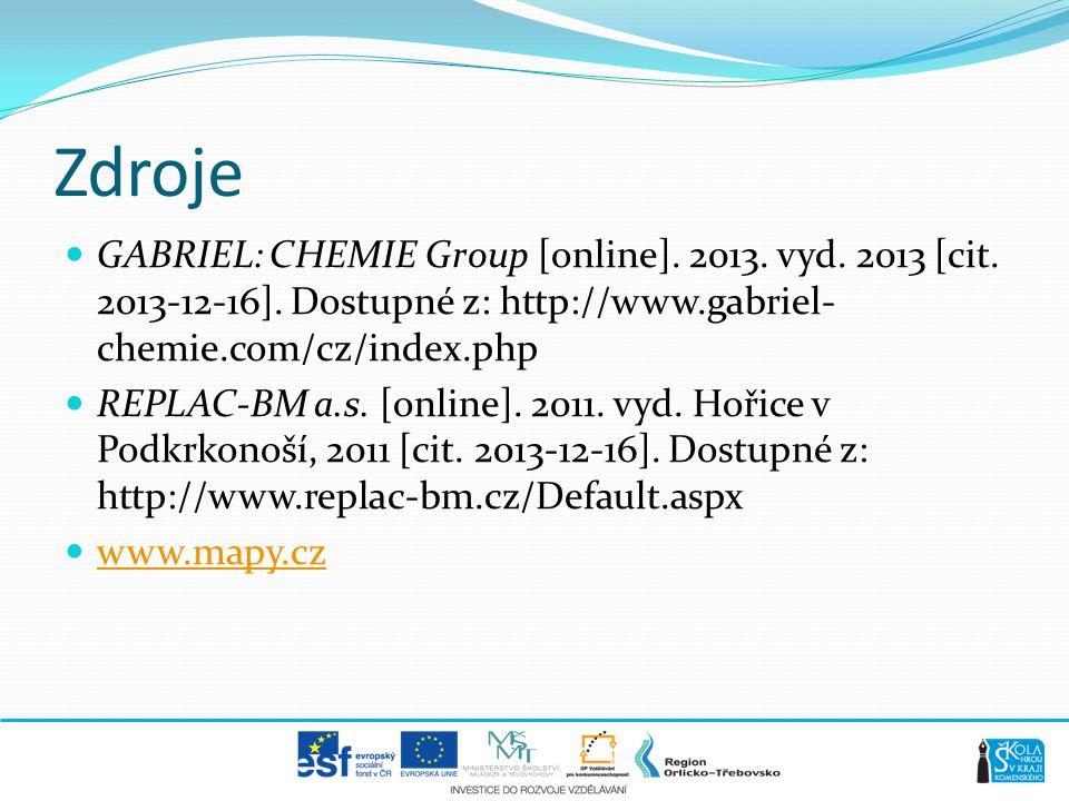 Zdroje GABRIEL: CHEMIE Group [online]. 2013. vyd. 2013 [cit. 2013-12-16]. Dostupné z: http://www.gabriel-chemie.com/cz/index.php.